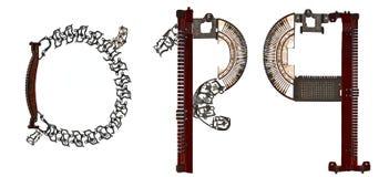 字母表低案件在` o, p,从金属零件装配的q `上写字 库存图片