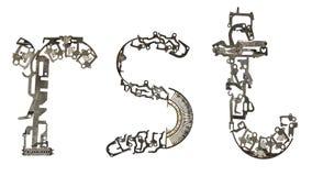 字母表低案件在` r, s,从金属零件装配的t `上写字 图库摄影