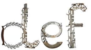 字母表低案件cletters ` d, e, f `从金属零件聚集 免版税库存图片
