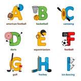 字母表体育从A到I 免版税库存照片