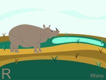 字母表动物看板卡闪光r犀牛 免版税库存图片