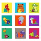 字母表动物从A到I 免版税库存照片