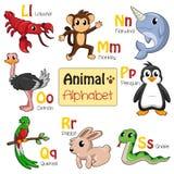 字母表动物从L到S 免版税库存图片