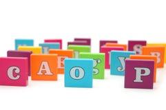 字母表在多种上写字 免版税库存照片