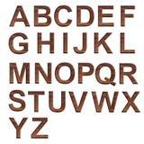 字母表在木上写字在白色背景 库存例证