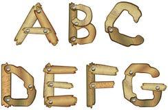 字母表在木上写字 免版税库存照片