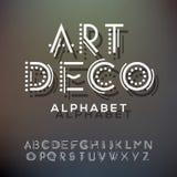 字母表在汇集,艺术装饰样式上写字 免版税库存图片