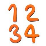 字母表在编号彩色塑泥上写字 免版税库存图片