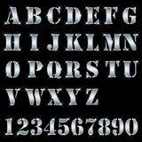 字母表在编号银上写字 免版税库存照片