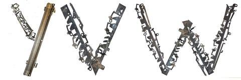 字母表在` A, B,从金属零件装配的C `上写字 库存图片