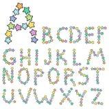 字母表多彩多姿的星形 库存例证