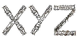 字母表大写字母` x, Y, Z `从金属零件聚集 免版税图库摄影