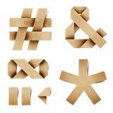 字母表工艺在被回收的origami纸张上写字 图库摄影