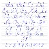 字母表手写字体 皇族释放例证