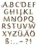 字母表明亮花卉 免版税库存图片