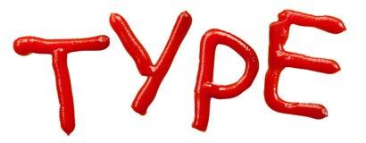 字母表查出的番茄酱信函 库存照片