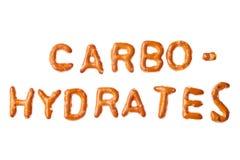 字母表椒盐脆饼文字被隔绝的碳水化合物 免版税图库摄影