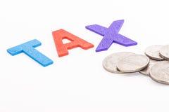 字母表税在被隔绝的白色背景,财务概念中 免版税库存图片