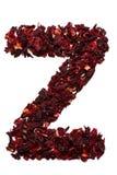 字母表英语冻结光照片使用的拍照技术是 在从木槿茶干花的Z上写字在白色背景的 横幅的,广告信件 图库摄影