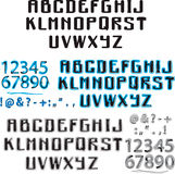 字母表蓝色和水彩 免版税库存图片