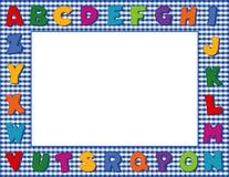 字母表蓝色框架方格花布 免版税库存照片