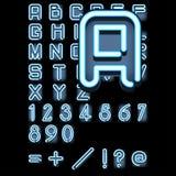 字母表蓝色氖 库存照片