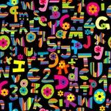 字母表被设置的和数字无缝的背景 免版税库存图片