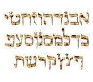 字母表西伯来逾越节matzah 西伯来信件Pesach 书法字体 犹太复活节 纹理未发酵的面包 向量 向量例证