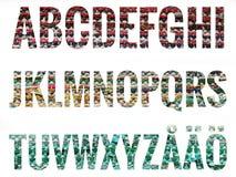 字母表设置与斯堪的纳维亚信件 免版税库存照片