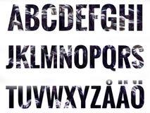 字母表设置与斯堪的纳维亚信件 库存图片