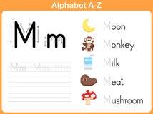字母表追踪的活页练习题:文字A-Z 免版税库存图片