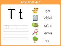 字母表追踪的活页练习题 库存图片