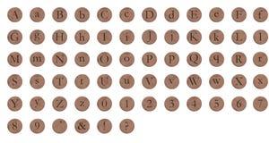 字母表铜舍入 库存照片