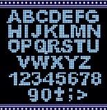 字母表霓虹闪亮指示的信函 图库摄影