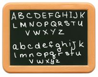 字母表黑板子项微型s 库存图片