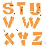 字母表绘与漆滚筒 免版税库存照片
