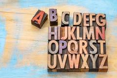 字母表类型葡萄酒木头 免版税库存图片