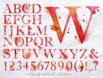 字母表水彩红色 库存照片