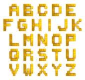 字母表3d立方体金黄 免版税库存照片