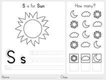 字母表A-Z辨别目标和难题活页练习题,孩子的-彩图锻炼 库存照片