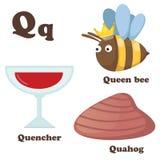 字母表Q信件 蚌蛎,蜂后,熄灭器 免版税库存图片