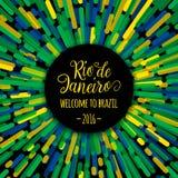 字法刺激行情文本标志里约热内卢欢迎向巴西2016年 模板祝卡片,海报,横幅 库存图片