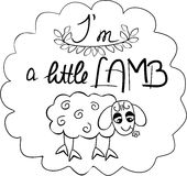 字法我是与一只手拉的滑稽的绵羊的小绵羊 库存图片
