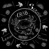 字法螃蟹菜单,新鲜的螃蟹,海鲜,菜单,海鲜餐馆,手拉与刷子笔 免版税库存照片