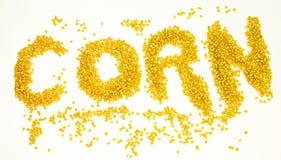 字玉米写与干玉米谷物 库存照片