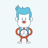 字符例证设计 商人准时动画片, eps 免版税库存照片