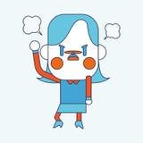 字符例证设计 女实业家恼怒的动画片, eps 免版税库存照片