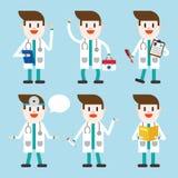 字符例证设计 医生集合动画片 库存图片