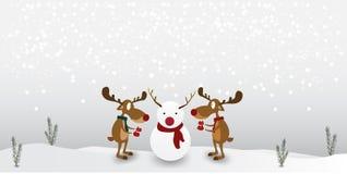 字符动画片驯鹿逗人喜爱在冬天雪人背景 圣诞快乐的贺卡 皇族释放例证