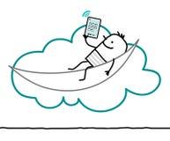 字符和云彩-休闲 向量例证